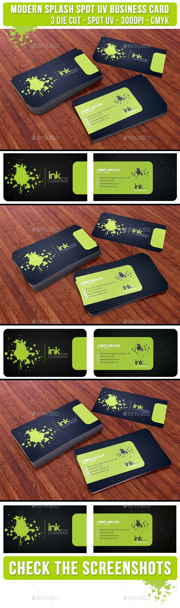 GraphicRiver Splash Ink Spot UV Business Card 3 Cuts 9299727