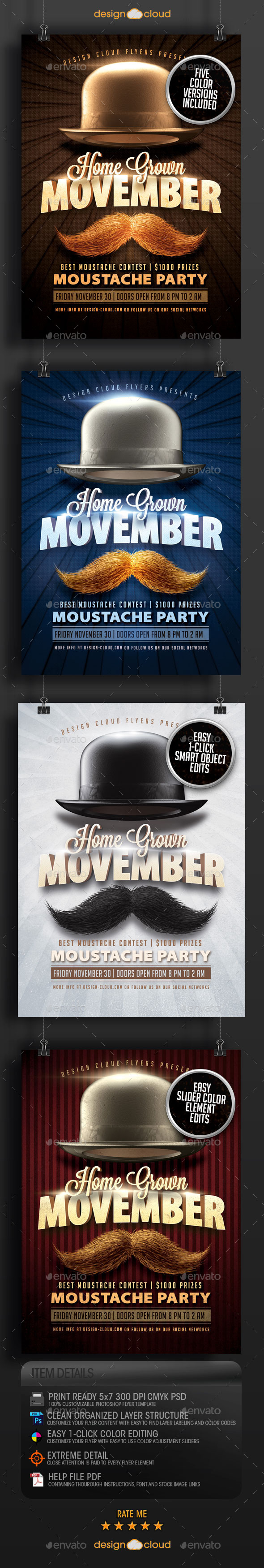GraphicRiver Movember Home Grown Moustache Party Flyer Template 9347007