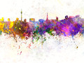 Dusseldorf skyline in watercolor background - PhotoDune Item for Sale