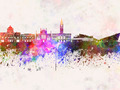 Kingston Upon Hull skyline in watercolor background - PhotoDune Item for Sale