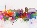 Leicester skyline in watercolor background - PhotoDune Item for Sale