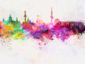 Hannover skyline in watercolor background - PhotoDune Item for Sale
