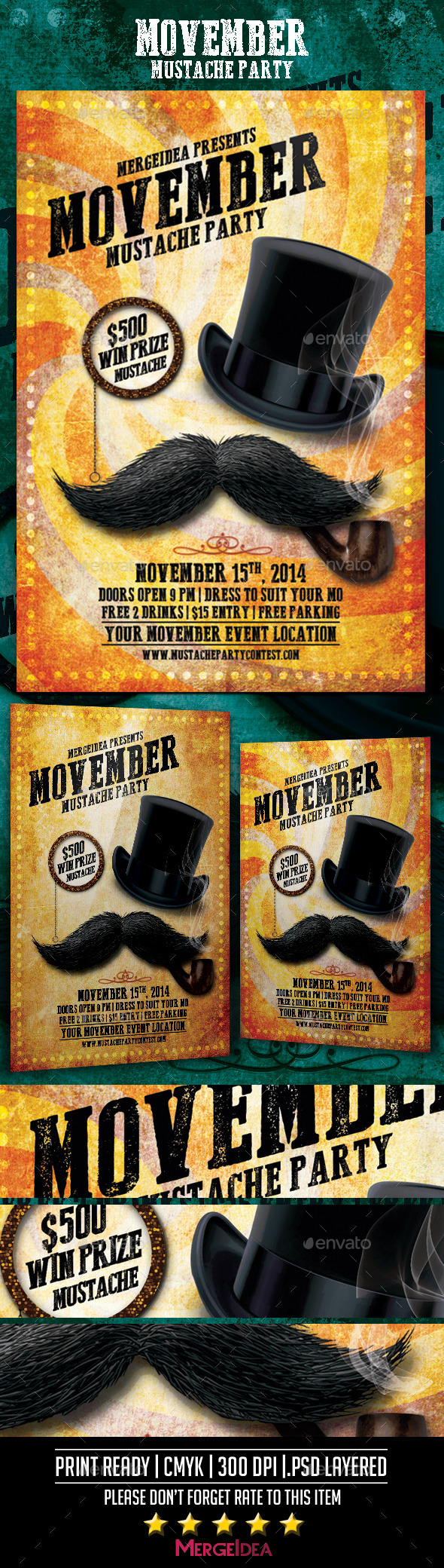GraphicRiver Movember Mustache Party Flyer 9348546