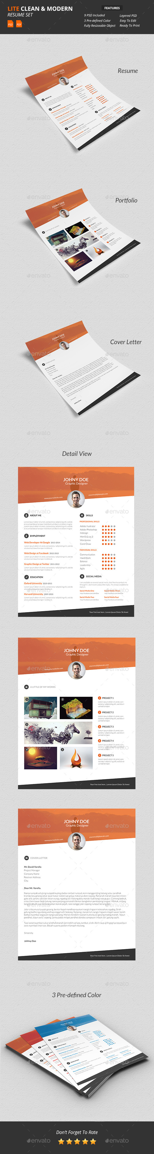 GraphicRiver Lite Clean & Modern Resume Template 9319133