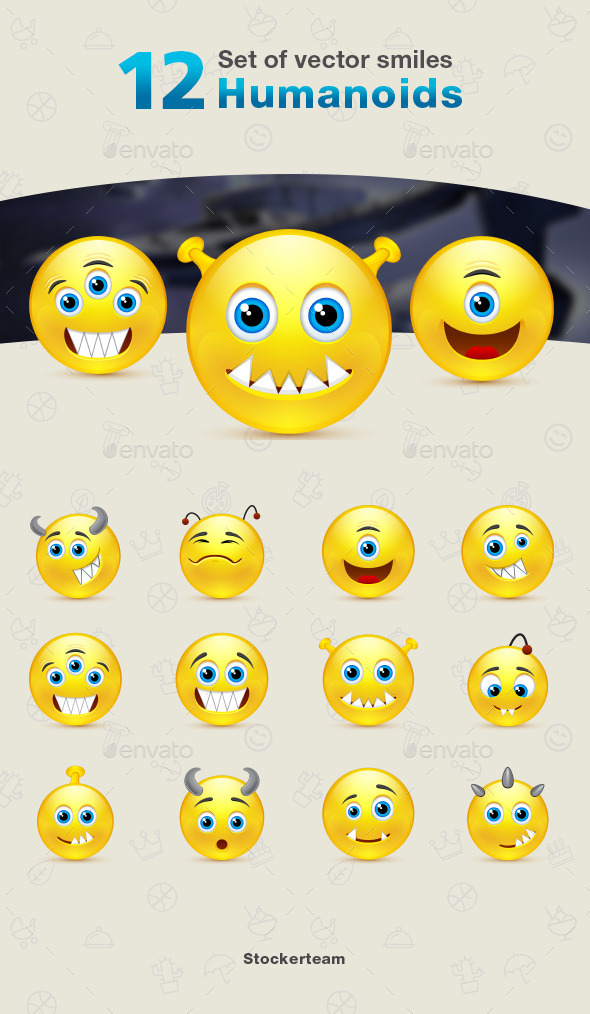 GraphicRiver Set of 12 Humanoids Smiles 9339859
