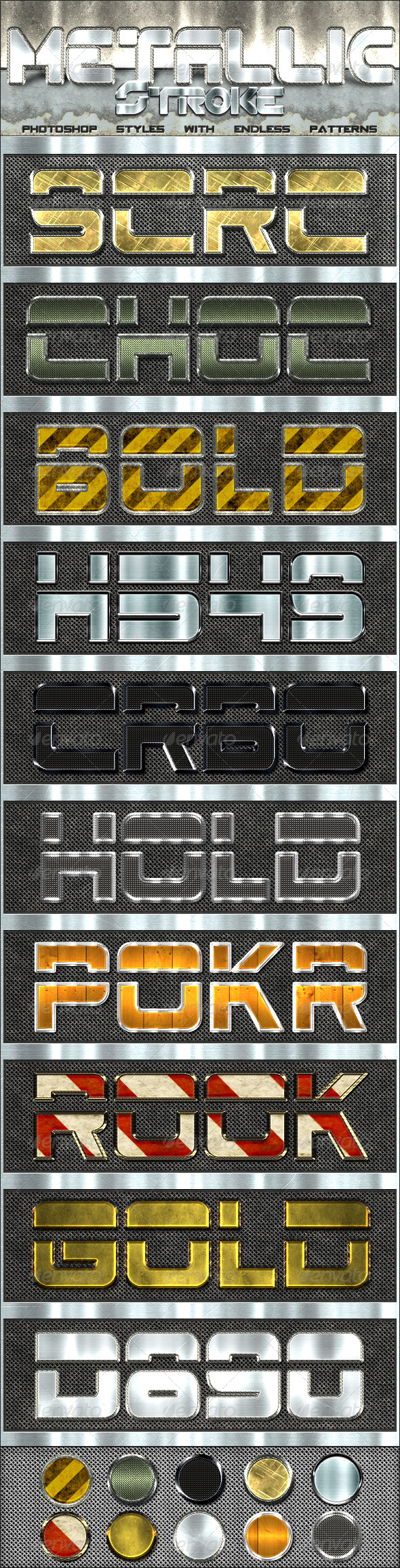 Metallic Stroke Styles - Text Effects Styles