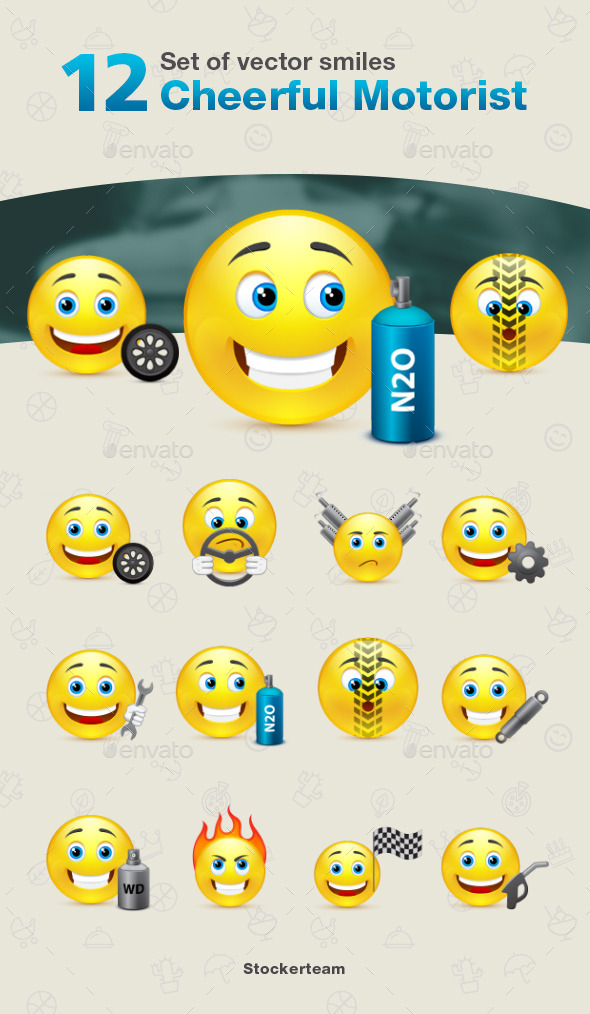 Set of 12 Cheerful Motorist Smiles