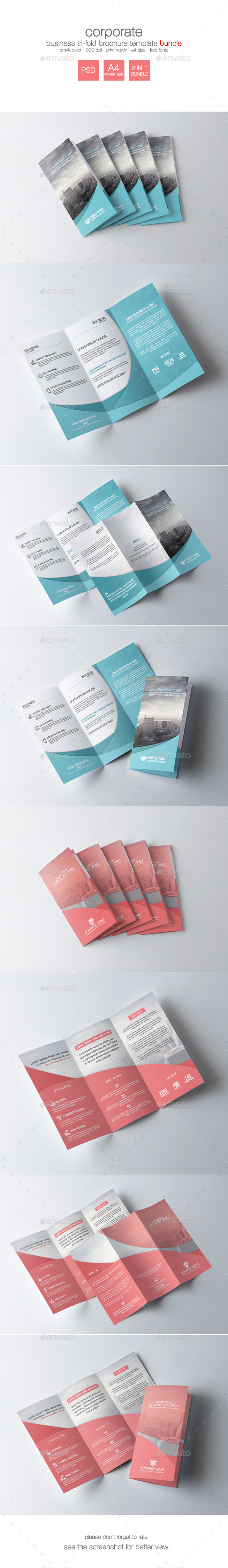 GraphicRiver Corporate Tri-Fold Brochure Bundle 9349844