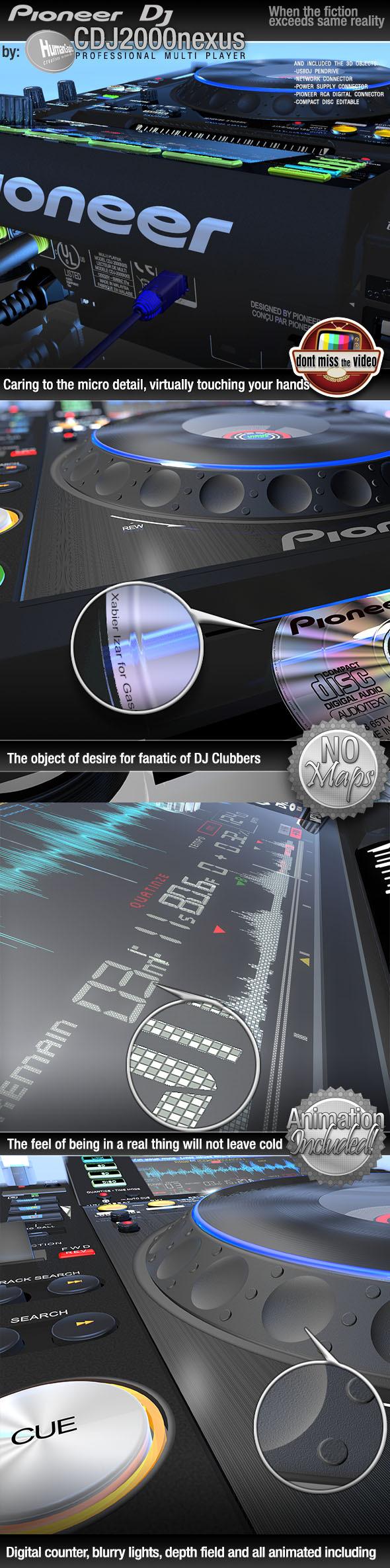 3DOcean Realistic CD Player Pioneer CDJ2000nexus black 9349890