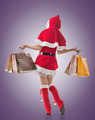 Christmas girl holding shopping bags - PhotoDune Item for Sale