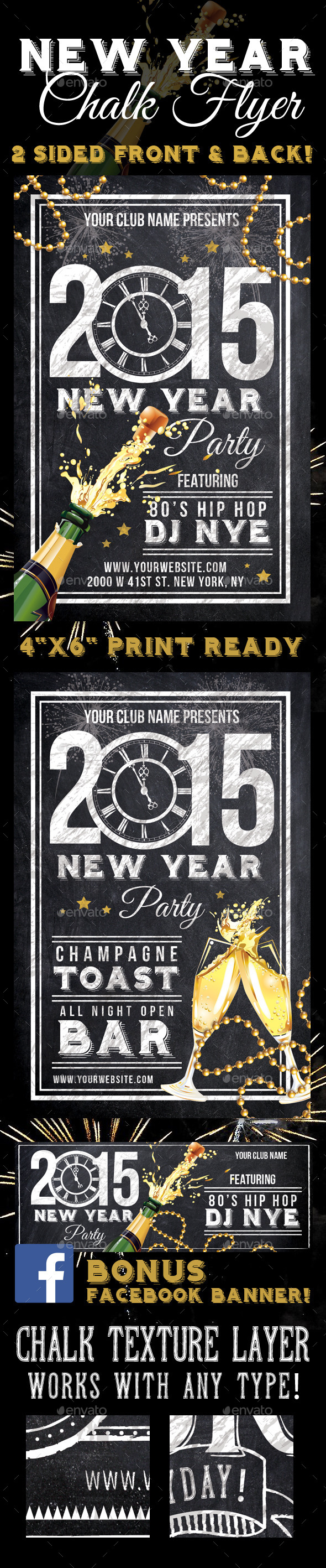 GraphicRiver 2015 New Years Party Chalk Flyer 9350450