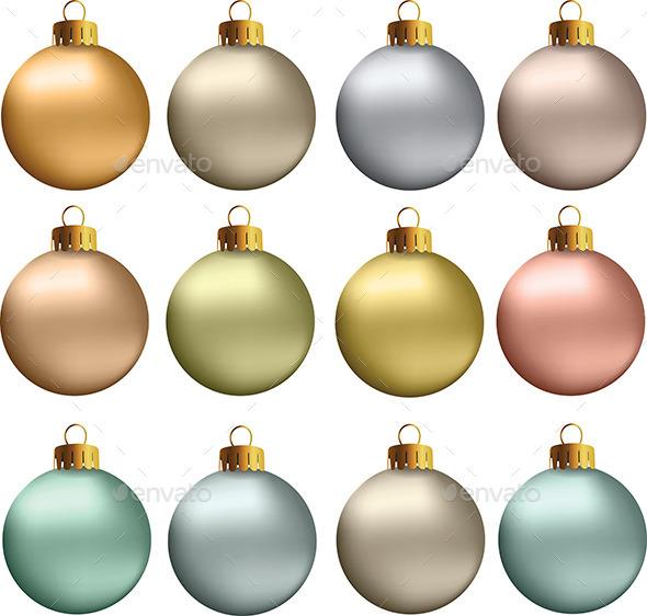 GraphicRiver Christmas Balls Pastel Metallic Colors 9350530