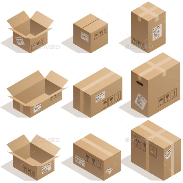 GraphicRiver Cardboard Boxes 9350546