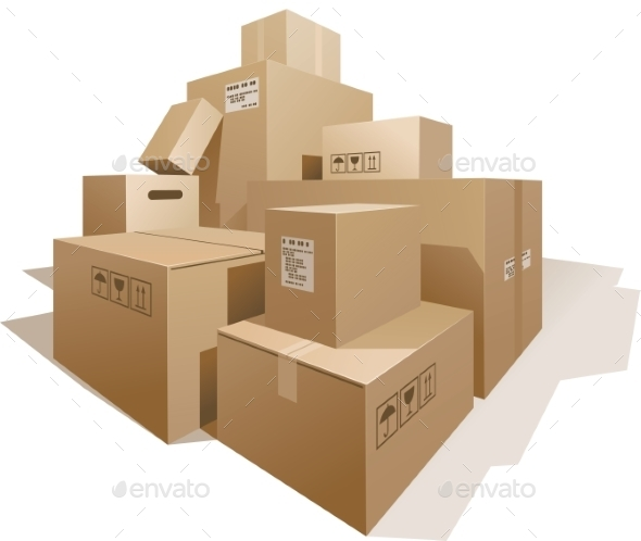 GraphicRiver Cardboard Boxes 9350547