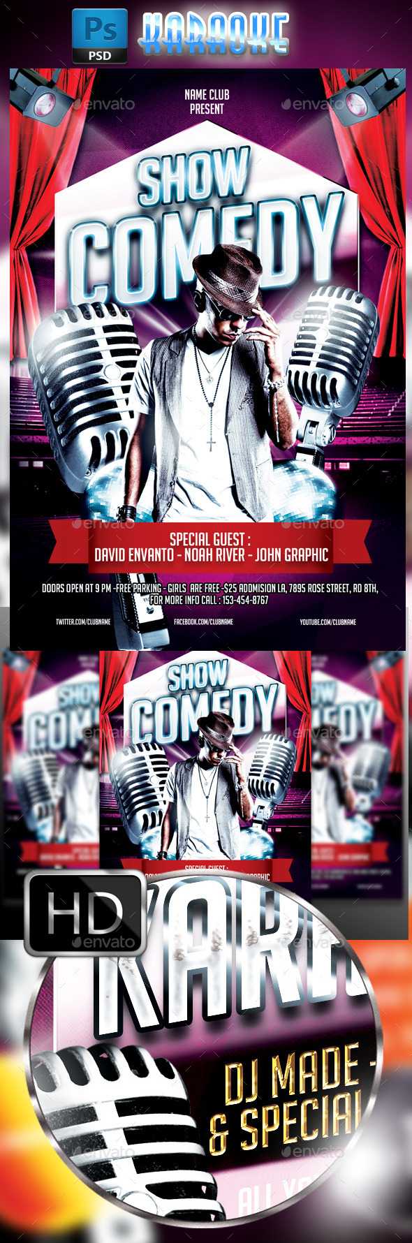 GraphicRiver Comedy Show Flyer Template 9350585