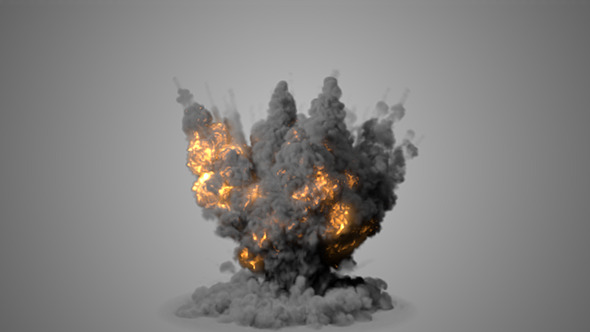 Realistic Explosion With Puffy Smoke