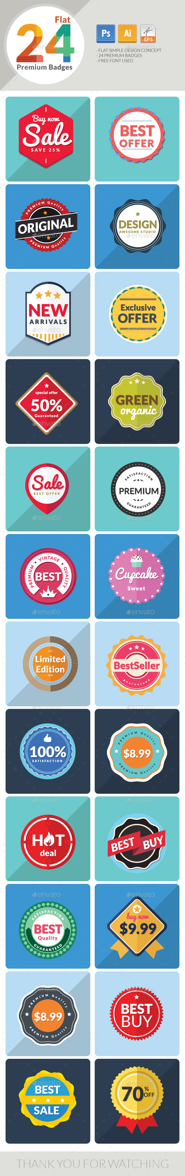 GraphicRiver 24 Flat Premium Badges 9350986