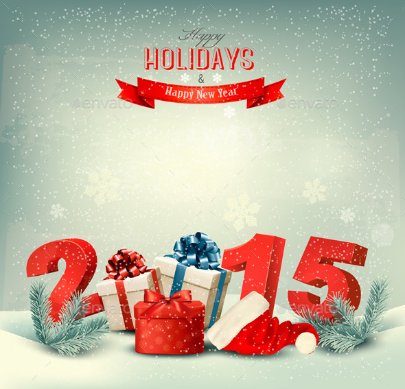 Holiday Background with Presents and a 2015 - New Year Seasons ...