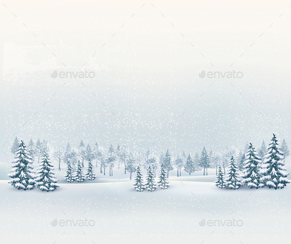 GraphicRiver Christmas Winter Landscape Background 9351019