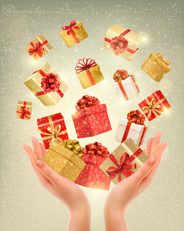 Christmas Gold Background with Gift Boxes