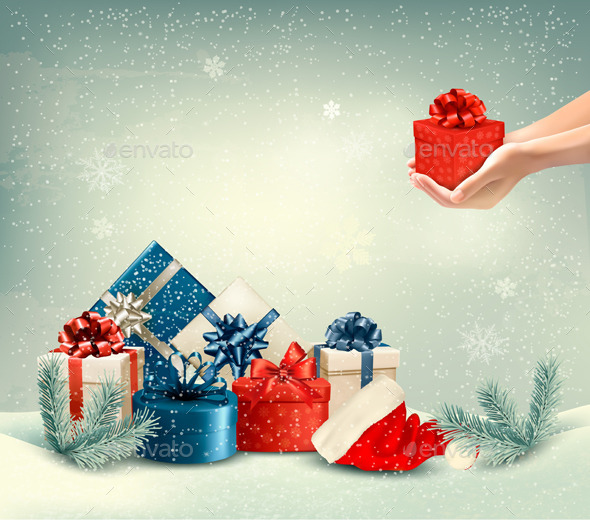GraphicRiver Christmas Winter Background with Presents 9351032