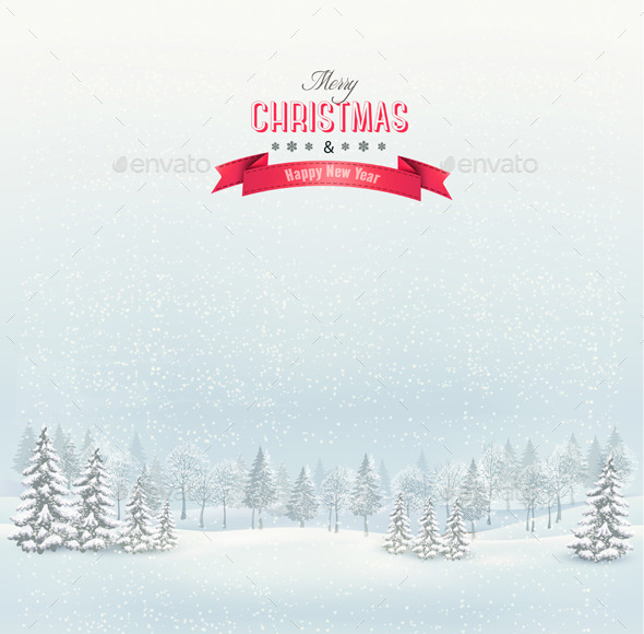 GraphicRiver Christmas Winter Landscape Background 9351034