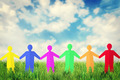 Concept of unity and friendship. Many multicolored paper people characters stand outdoor together - PhotoDune Item for Sale