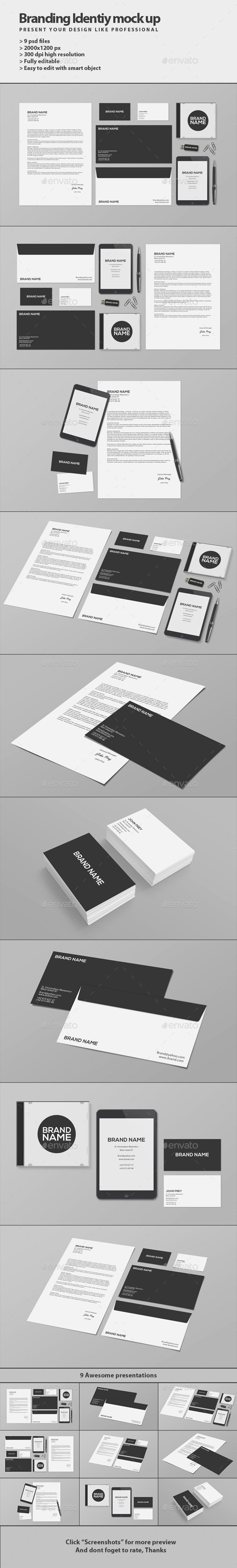 GraphicRiver Stationery Branding Mock-Up 9351110