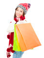 beautiful young woman holding shopping bags. Christmas shopping concept. - PhotoDune Item for Sale
