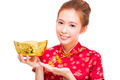 happy asian woman showing  gold for chinese new year.isolated on white background - PhotoDune Item for Sale