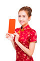 beautiful young asian woman showing  red bag for lucky.isolated on white background - PhotoDune Item for Sale