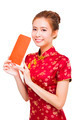 beautiful young asian woman holding  red bag for rich.isolated on white background - PhotoDune Item for Sale