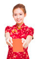 beautiful young asian woman giving  red bag for rich. isolated on white background - PhotoDune Item for Sale