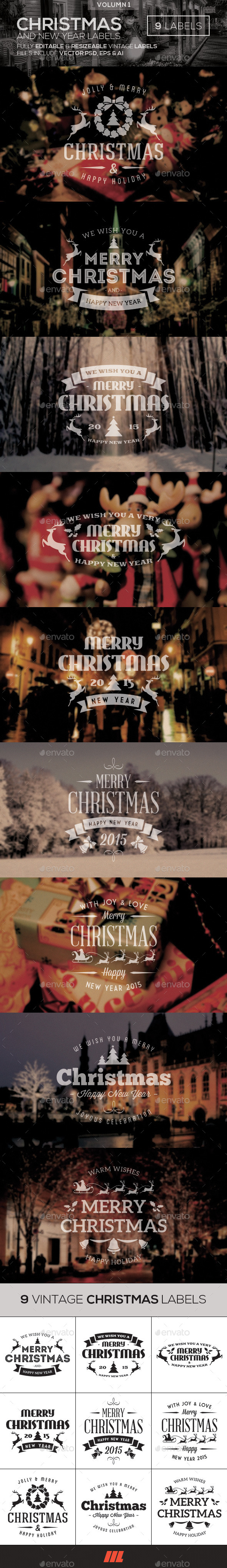 Christmas and New Year Vintage Labels - Badges and Stickers Web Elements