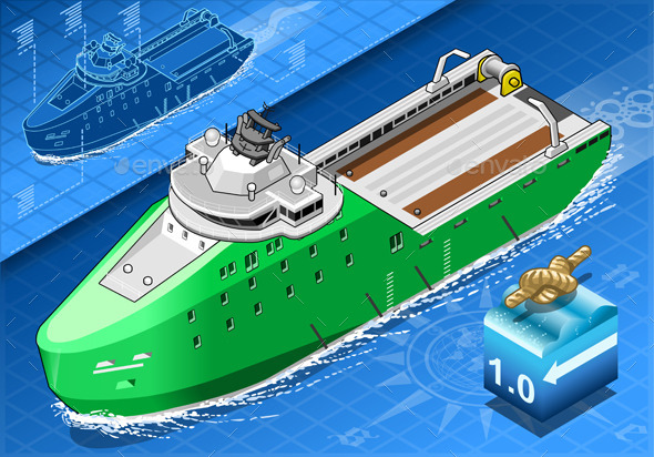 GraphicRiver Isometric Ship Breaking the Ice in Navigation 9351801