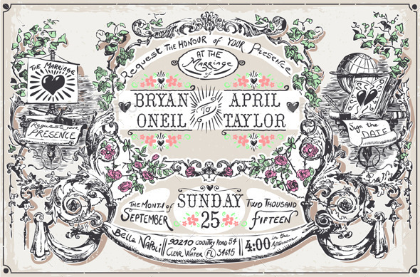 GraphicRiver Vintage Wedding Hand Drawn Banners and Labels 9352054