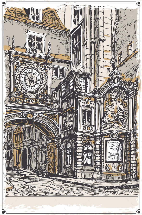 GraphicRiver Vintage View of Gros Horloge street Rouen 9352055