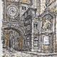 Vintage View of Gros Horloge street, Rouen - GraphicRiver Item for Sale