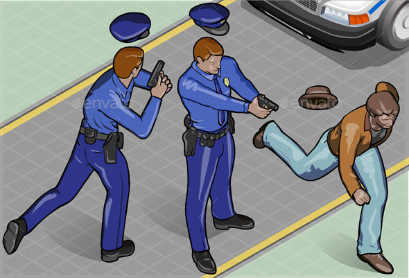 GraphicRiver Isometric Policeman and Robber 9352057