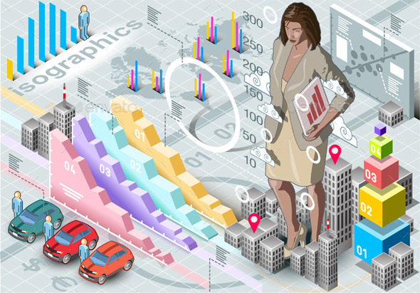 GraphicRiver Isometric Infographic Woman Secretary Set Elements 9352081