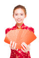 beautiful young asian woman giving  red bags for rich.isolated on white background - PhotoDune Item for Sale