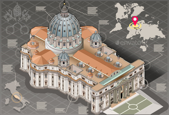GraphicRiver Isometric Infographic of Saint Peter of Vatican 9352123