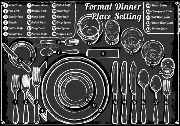 GraphicRiver Vintage Hand Drawn Blackboard Place Setting Formal 9352127