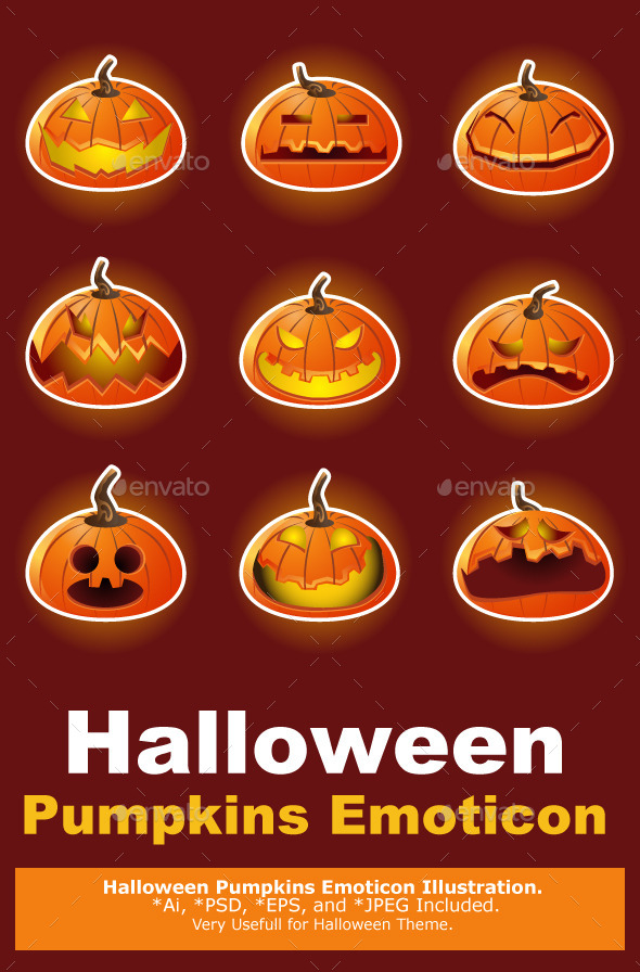 GraphicRiver Halloween Pumpkin Character Emoticon Icons 9352185