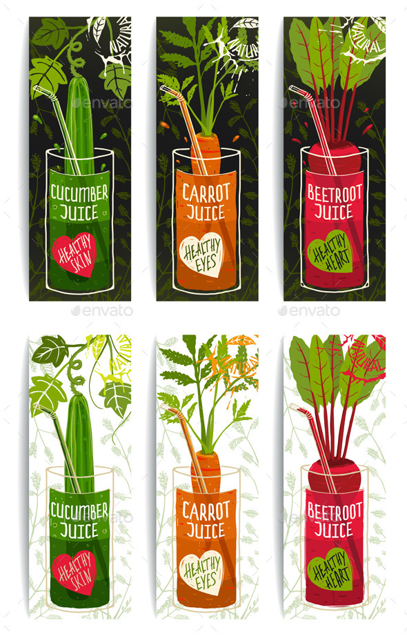 GraphicRiver Healthy Vegetables Juices Design Collection 9352777