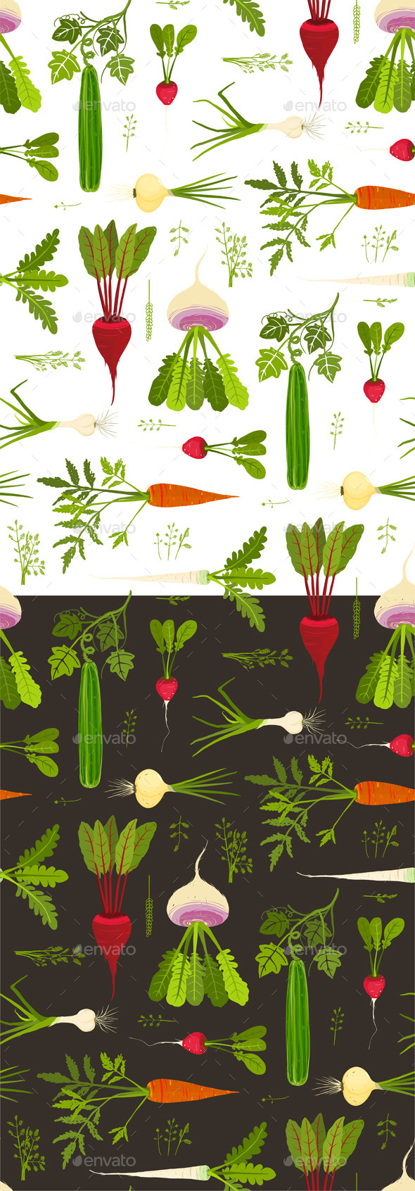 GraphicRiver Vegetables and Greens Seamless Pattern Background 9352991