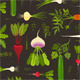 Vegetables and Greens Seamless Pattern Background