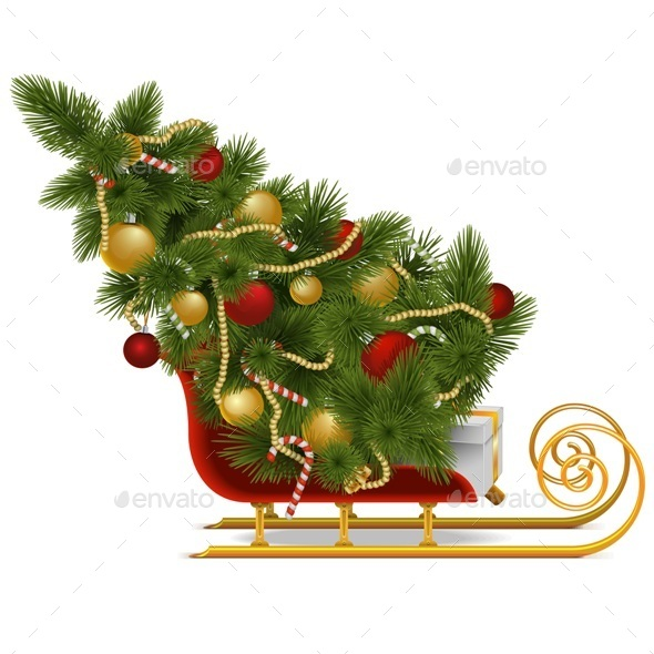 GraphicRiver Vector Sled with Christmas Tree 9352997