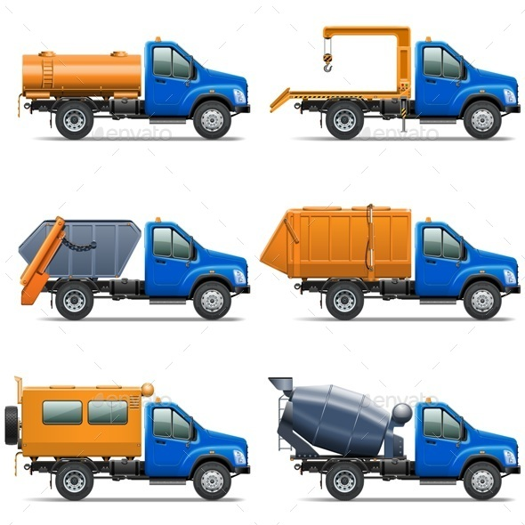 GraphicRiver Vector Lorry Icons Set 5 9353183