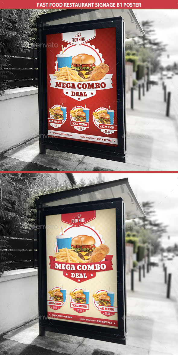 GraphicRiver Restaurant Fast Food Signage B1 Poster 9353201